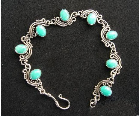 7'' Turquoise bracelet silver chain