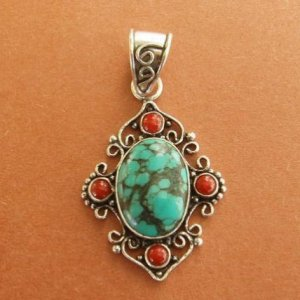 Turquoise coral pendant sterling silver