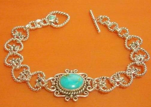 7'' 2 Turquoise beads bracelet silver chain