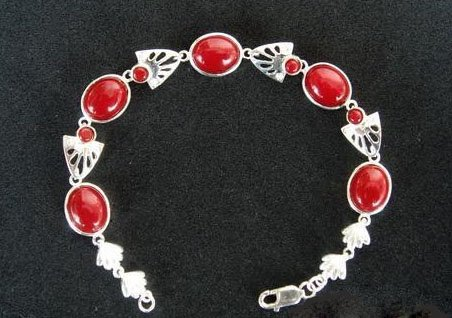 Coral bracelet with sterling silver chain