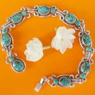 7'' turquoise 8 bead bracelet silver chain