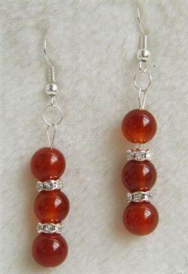 Red jade earring silver hook