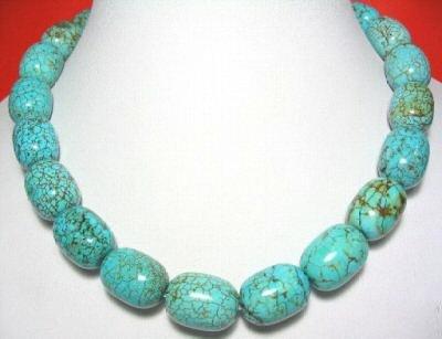 17'' big barrel shape turquoise bead necklace