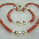 Red coral and white pearl necklace bracelet set