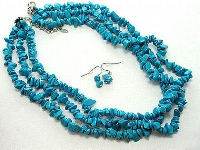3 strands blue turquoise chips necklace earrings set