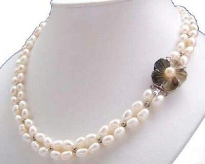Junoesque 2rows white freshwater pearl necklace
