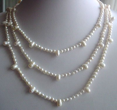 61'' super long 5-7mm white pearl necklace