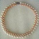 17'' 3-color button pearl necklace