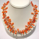 18'' pink coral bead and white pearl necklace
