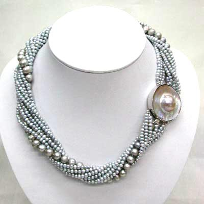 10 strands gray pearl necklace mabe clasp