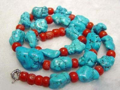 17.5'' baroque turquoise red coral necklace