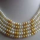 Wholesale 5 pcs white and golden pearl necklace