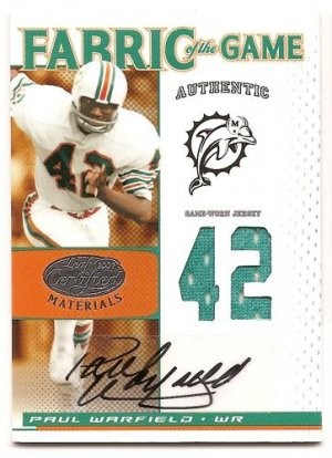 1/1 2007 LEAF CERTIFIED PAUL WARFIED FABRIC OF THE GAME AUTO #42/42 1/1