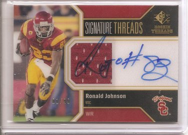 1/1 2011 SP AUTHENTIC RONALD JOHNSON ROOKIE AUTO JERSEY 1/1 #1/99 FIRST ONE!