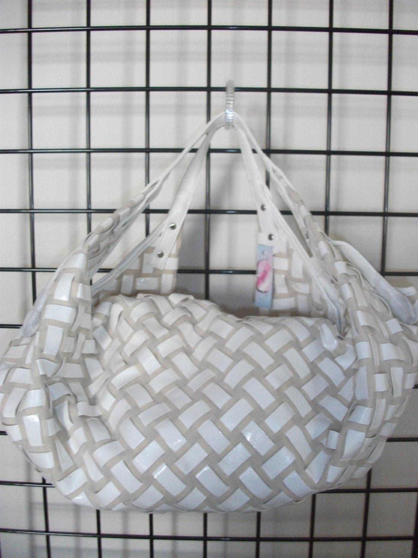 Winter white woven handbag