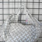 Winter white woven handbag