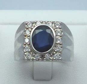 Men ring 2.32ct genuine Blue Sapphire & CZ 925 Sterling Silver
