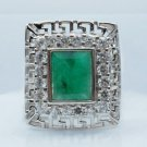 Emerald men ring around stencil sterling silver