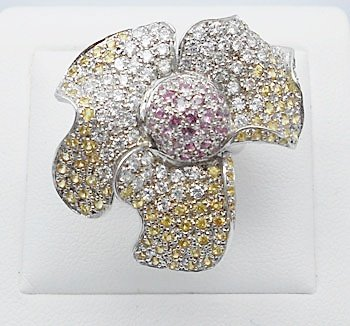 Genuine multi color sapphire flower ring sterling silver
