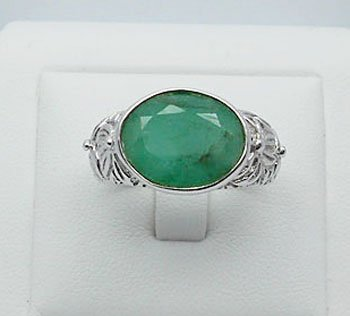 11.23ct Emerald - Carving handmade - Sterling Silver