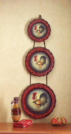 4PC ROOSTER PLATES AND RACK