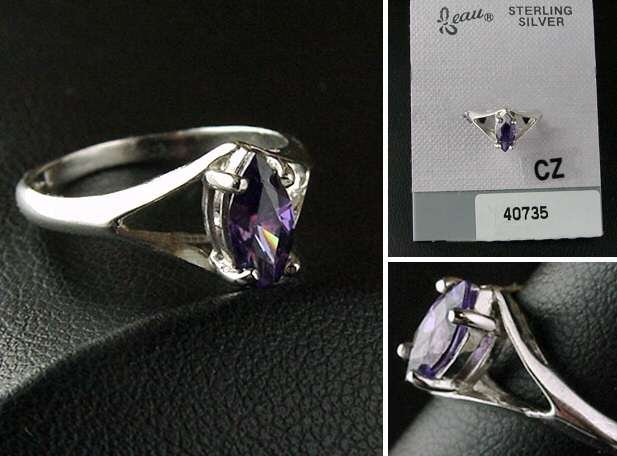 SS Plated Amethyst Simulated Marquis CZ Ring (Feb)