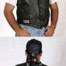 Genuine Leather Biker Black Vest