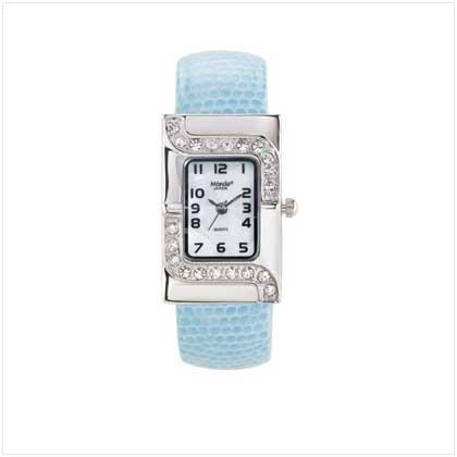 Silver Case Blue Cuff Watch
