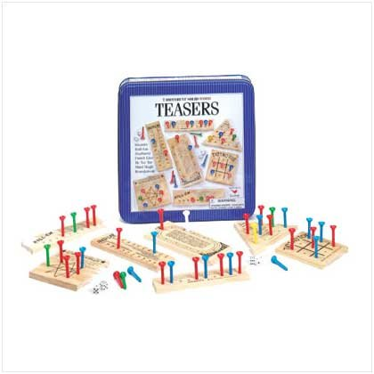 Wood Brain Teasers Game in Tin