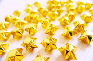 100 Cute Origami Lucky Stars Sparkling Golden