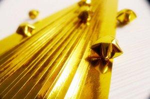 Sparkling Golden Origami Lucky Star Paper Strips Gift Folding DIY - Pack of 90 Strips