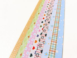Heart,Flower and Checks Mixed Origami Lucky Star Paper Strips Star Folding DIY - Pack of 160 Strips