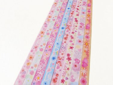 Pastel Floral Origami Lucky Star Paper Strips Gift Folding DIY - Pack of 160 Strips