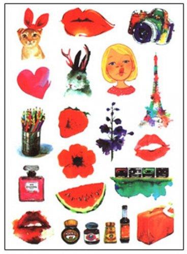Retro Decorative Sticker Laptop Suitcase Sticker Masking Sticker - 1 Sheet 18 Pcs