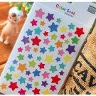 6 Sheets Rainbow Twinkle Stars Diary Decor Sticker Set Colorful Paper Sticker Set