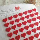 Mini Heart Felt Sticker Set - 2 Sheets,168 Pcs,Red Heart Shape