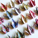 20 Small Japanese Chiyogami Paper Cranes in Assorted Design Origami Paper Cranes