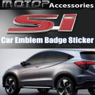 3D Metal Red SI Logo Racing Front Badge Emblem Sticker Decal Self Adhesive