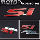 Red SI Logo 3D Metal SI Racing Front Hood Grille Badge Emblem Car Decoration