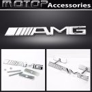 3D Metal Silver AMG Racing Front Hood Grille Badge Emblem Car Decoration