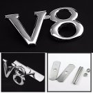 3D Metal Chrome Silver V8 Racing Front Hood Grille Badge Emblem V8 Decoration