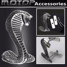 Car 3D Metal Racing Chrome Silver Cobra Snake Front Hood Grille Badge Emblem