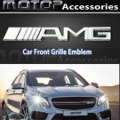 AMG 3D Metal Silver AMG Racing Front Hood Grille Badge Emblem Car Decoration