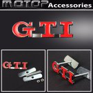 Red GTI 3D Metal G.T.I. Racing Front Grill Grille Badge Emblem Car Decoration