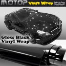 "Glossy Gloss Black Vinyl Wrap Film Car Sticker Decal Sheet Air Release 16""x60"""