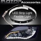 2pcs White 30cm Waterproof Daytime Drving Running Light DRL Fexible Strip LED