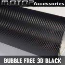 """3D Black Carbon Fiber Vinyl 4""""x60"""" Wrap Film Sticker Decal Air Bubble Free"""