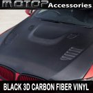 "4""x60"" 3D Black Carbon Fiber Vinyl Wrap Film Sticker Decal w/ Air Bubble Free"