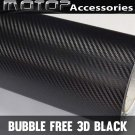 "3D Black Carbon Fiber Vinyl 20""x60"" Wrap Film Sticker Decal Air Bubble Free"