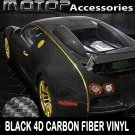 "4""x60"" 4D Black Carbon Fiber Vinyl Wrap Film Sticker Decal w/ Air Bubble Free"